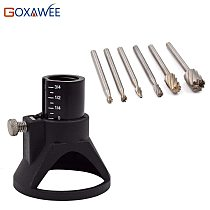 GOXAWEE Electric Hand Drill Power Tools  Wood Milling Burrs Cutter Set 6pcs with Drill Dedicated Locator For Dremel Accessories