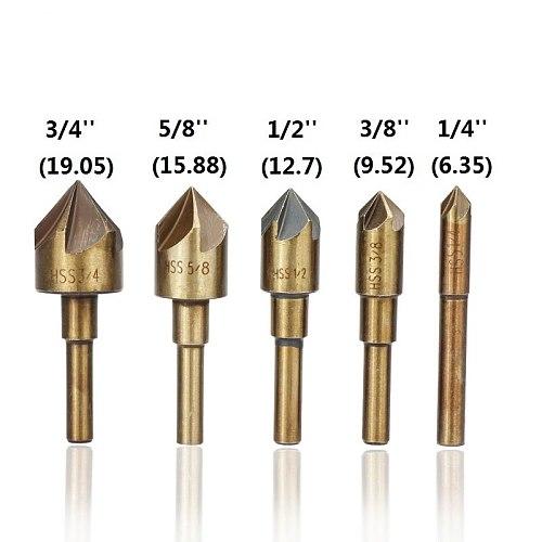 5 Flute Countersink Drill Bit 5pcs 82 Degrees Chamfer Drill HSS4341 Wood Metal Hole Cutter