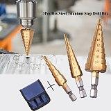3pc Hss step drill bit set cone hole cutter Taper metric 3-12mm 4 - 12 / 20 mm 1 / 4  titanium coated metal hex core drill bits