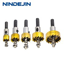 NINDEJIN φ16 φ18.5 φ20 φ25 φ30 HSS drill bit hole saw cutter bit set for metal stainless iron brass aluminum plastic plate