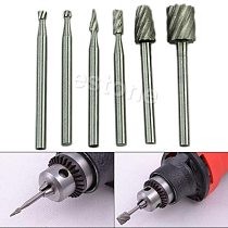 6pcs HSS Routing Router Grinding Drill Bits Burr For Rotary Tool Dremel Bosch Mini Puncher Wood Drilling