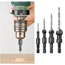 4PCS Countersink Drill Bit Set Wood Drill Set woodworking drill bits set