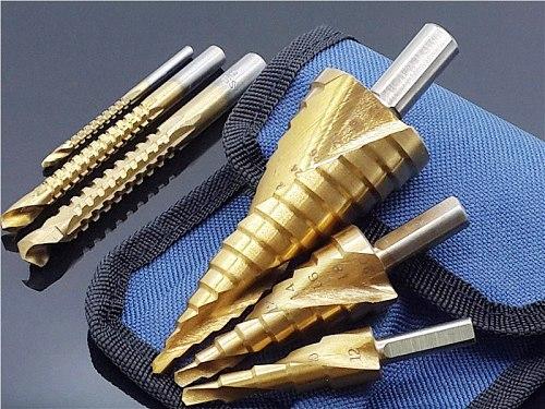 6Pcs Steel Titanium Hex Step Drill Bit Set 4-12/20/32mm Metal Hole Cutter Wood Cone Core Drilling Hole Saw Tool+3,6,8 Saw Drills