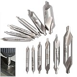 6pc Combined HSS Combined Center Drill Countersink Bit Lathe Mill Tackle Tool Set Double 5 / 3 / 2.5 / 2 / 1.5 / 1mm Hand Tool