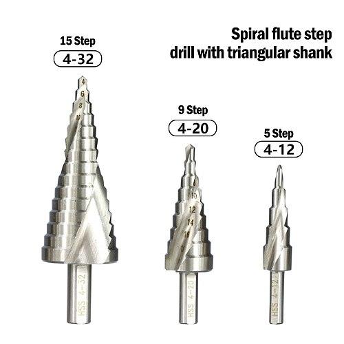 1pcs 4-12 4-32mm Pagoda Drill Hexagon Screw Drill HSS Power Tools  Spiral Grooved Metal Steel Step Drill Bit