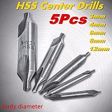 6pcs/Set standard 60 Degree HSS Combined Center Drill bit 1/1.5/2.5/3.15/5mm Angle Countersink Drill bit with double end