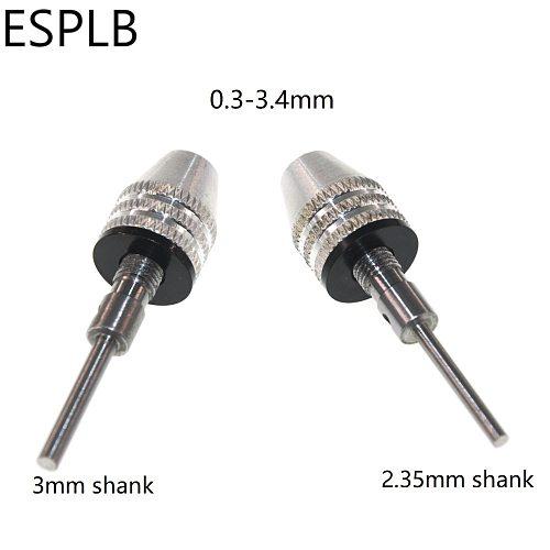 0.3-3.4mm Keyless Drill Chuck Bit Quick Change 2.35mm/3mm Shank Adapter Converter Tool Bit