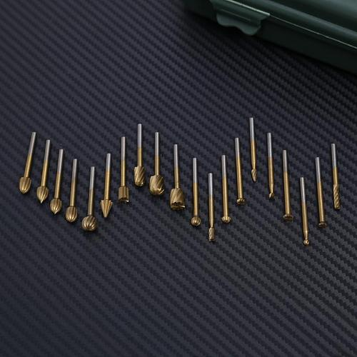 20pcs HSS Routing Router Grinding Bits Burr File Tools Set Wood Cutter Dirll Bit for Wood Rotary Dremel Engraving Tool