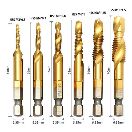 Composite Taps 6 Piece Metric Combination M3-M10 1/4  Hex Shank Drill Tapping And Chamfering Integrated Screw Tap Drill Bit