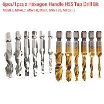 M3-M10 6pcs Screw Tap Drill Bit HSS Taps Countersink Deburr Set Metric Combination 1/4 Quick Change Hex for Soft Metal /Aluminum