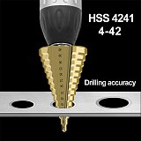 HSS Step Drill Tool 4-42MM 14 Steps Multiple Drill Bits High Speed Steel Hole Cutter DIY Metal Wood Drilling Power Tool