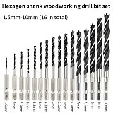 Hexagonal shank woodworking drill bit punching round shank three-point drill electric drill rotary head wood plank hole special