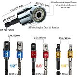 7PCS Impact Grade Driver Socket Adapter Extension Set, 105 Degree Right Angle Extension Nut Driver Power Drill Bit