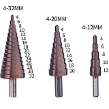 M35 HSS-Cobalt Step Drill Bit Set 4-12/4-20/4-32 mm Drilling Power Tools for Metal Cone Triangle Shank Hole Cutter Drill Bits