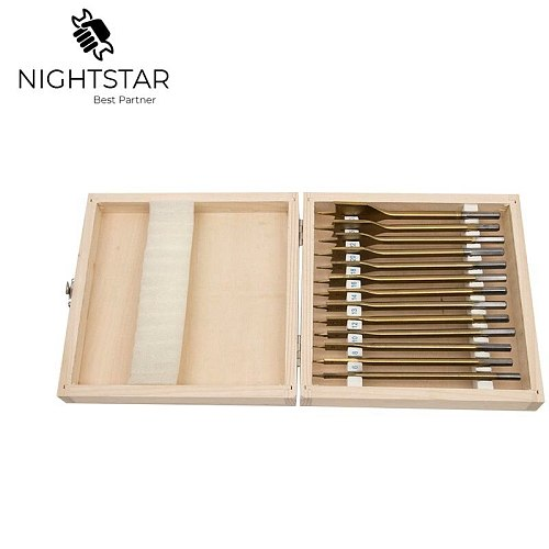 13pcs Flat Spade Drill Bits Set Titanium Coating Wood Boring Bit 1/4  Hex Shank Woodworking Power Tool Accessories w/B