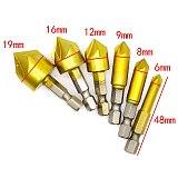 6PCS 5 Flute Chamfer Countersink 1/4  Hex Shank HSS 90 Degree Wood Chamfering Cutter Chamfer 6mm-19mm Countersink Drill Bit