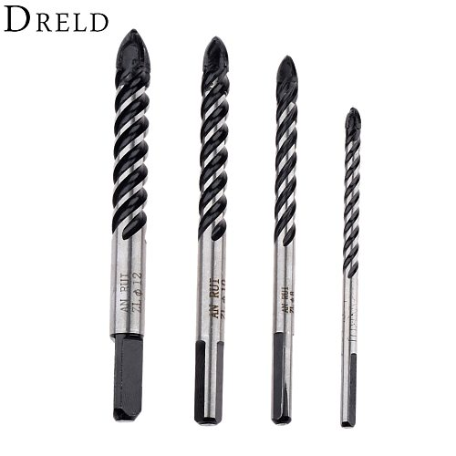 DRELD Ceramic Tile Glass Drill Bits Porcelain Spear Head Marble Wall Triangle Core Drilling Power Tool Accessories 6/8/10/12mm