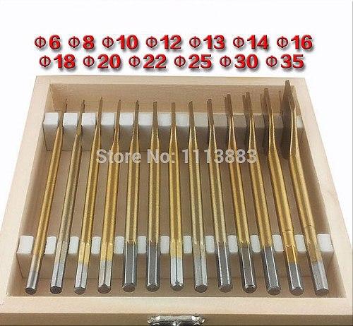 13PCS Titanium Coated Spade Bits (Flat Bits) in a wooden box