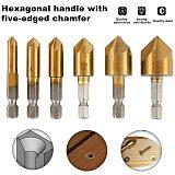 6PC HSS 5 Flute Counter Sink Drill Head Bit Set 90 Degree 1/4  Chamfer Cutter Metal Drills DIY Power Tools Drilling Conductor