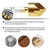 Cutter Screw Hole 5 Flutes Countersink Drill Bit Wood Working Metal 6Pcs Hex 6-19mm Countersink Bit Tool 1/4  Hex Chamfer