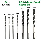 LA VIE Multifunctional Glass Bit Twist Spade Drill Triangle Bits For Ceramic Tile Concrete Glass Marble 3mm to 12mm DB02054
