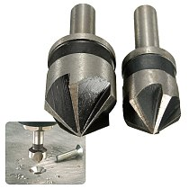 2PC 1/4 Shank 82 Degree Point Angle Countersink Chamfer Cutter 5 Flute Countersink Drill Bit Set