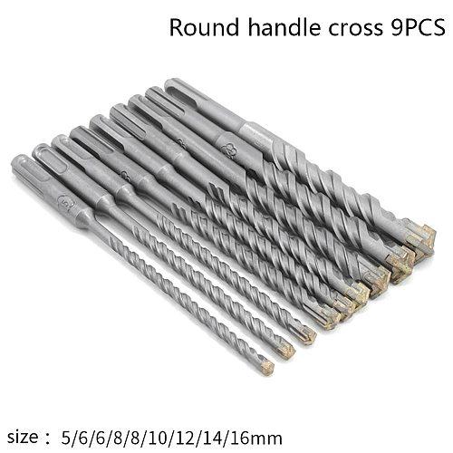 9pcs/set 160mm Round Shank Electric Hammer SDS Plus Drill Bit Set for Concrete Wall Brick Block Masonry Hole Saw Drilling Bits