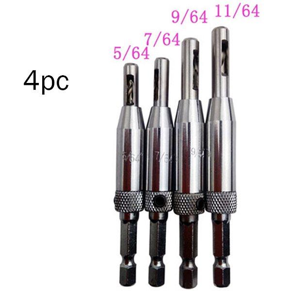 4 pcs HSS Self Centering Hinge Drill Bits Set Door Cabinet 5/64  7/64  9/64  11/64  Center Drill Bit DropShipping