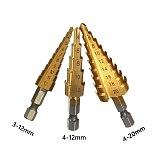 3Pcs Hss Step Drill Bit Set Cone Hole Cutter Taper Metric 4 - 12 / 20mm 1 / 4  titanium Coated Metal Hex Core Drill Bits