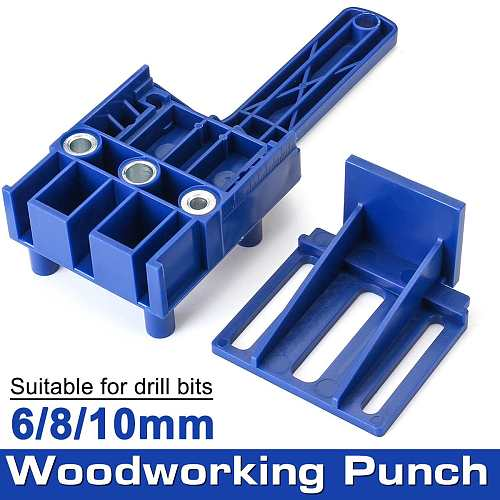 Professional Woodworking Pocket Hole Jig 6/8/10mm Vertical Doweling Jig Drill Guide For Locator Hole Puncher Carpentry Tools