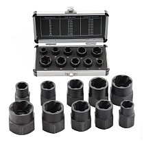 10pcs/Set Damaged Bolts Nuts Screws Remover Extractor Removal Tools Set Threading Tool Kit Black Nuts With Case 9-19mm Hand Tool