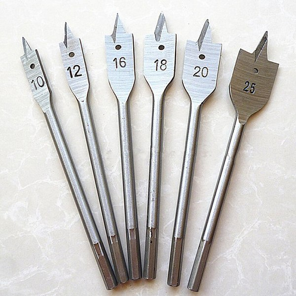 6pcs/lot  Flat Drill Long High-carbon Steel 10mm-25mm Wood Flat Drill Set Woodworking Spade Drill Bits Woodworking Hand Tool