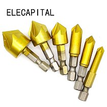 6PCS 5 Flute Chamfer Countersink 1/4  Hex Shank HSS 90 Degree Wood Chamfering Cutter Chamfer 6mm-19mm Countersink Drill Bit