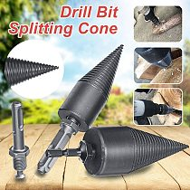 HSS Woodworking Wood Separator Spiral Cone Reamer Punch Driver Firewood Machine Splitter Drill Bit for Drill 32/42/45mm