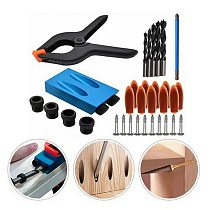 34pcs Pocket Hole Jig Kit 6/8/10mm Angle Drill Guide Set Woodwoorking Tool Hole Puncher Locator Jig Drill Bit Carpentry Tools