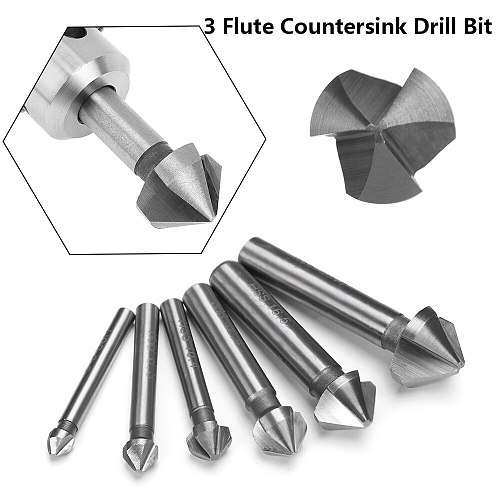DAYFULI 6.3/8.3/10.4/12.4/16.5/20.5mm 3Flute Countersink Drill Bit Round Handle 90 Degree HSS Wood Steel Chamfer Cutter Tool