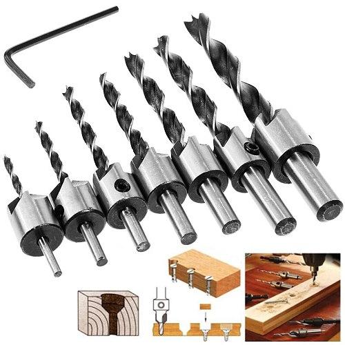 Vastar Flute Countersink Drills Bit HSS Drills Bit Reamer Set For Woodworking Chamfer 3-10mm