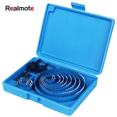 Realmote HCS 19-127mm Hole Cutter Hole Saw Wood Metal Drilling Power Tool Core Drill Mandrels Bits Woodworking Cutting Set Kit