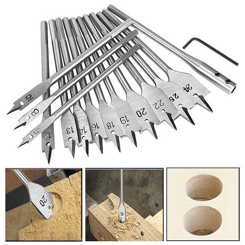 15pcs Spade Flat Wood Drill Bit Set Full Steel Hex Shank for Metal 6-25mm High Speed Steel Wood Drilling Power Tools Kit