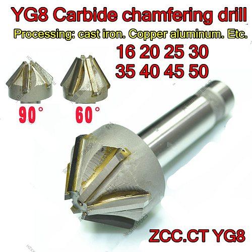 D16 D20 D25 D30 D35 D40 D45 D50  60and90degrees ZCC.CT YG8 Carbide chamfering drill Processing: cast iron. Copper aluminum. Etc.