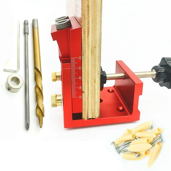 9.0mm Aluminum Oblique Hole Puncher Dowel Jig Pocket Hole Drill Guide Woodworking Joinery Tools Set for Carpentry DIY Tools