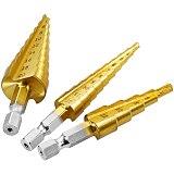 Vastar 3pcs HSS Titanium Coated Step Drill Bit Metal 3-12mm 4-12mm 4-20mm Cone Cut High Speed Steel Wood Drilling Power Tools