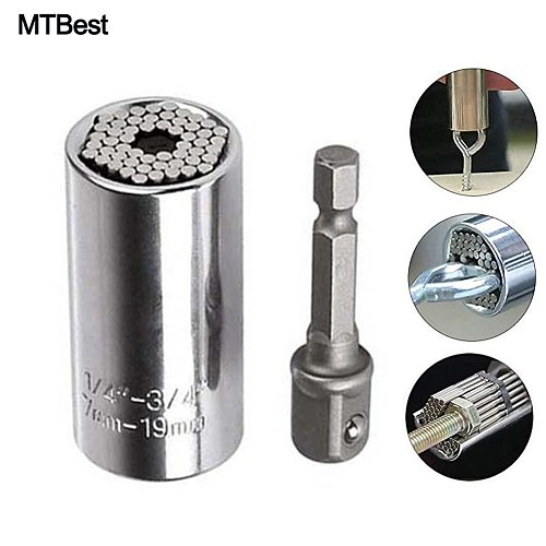 Ratchet Gator Grip Original Universal Socket Wrench Power Drill Adapter Set and 105 Degree Right Angle Extension 1/4  Drive Bits