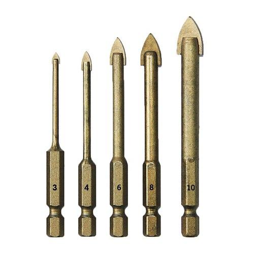 "5pcs Glass Ceramic Drill Bit Set 3 4 6 8 10mm Power Tools Accessrories Drywall Tools 1/4"" Hex Shank Tungsten Carbide Tip"