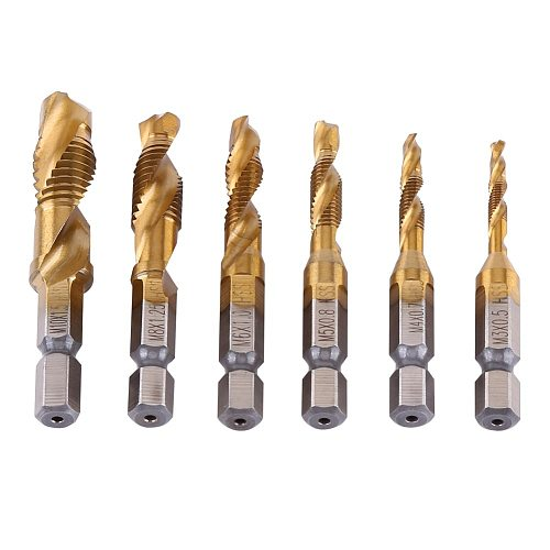 6pcs Drill Bit  Metric Thread M3-M10 Titanium Coated HSS Drill and Tap 1/4  Hex Shank metaal boor broca quadrada foret conique