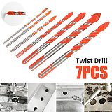 7pcs Ultimate Drill Bits Twist Drill Head Wall Ceramic Glass Marble Punching Hole Hand Electric Drill Wood Working Set