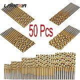 LAMEZIA 50PCS 4Sizes Mini Micro Round Shank DrillBits Set Small Precision HSS Twist Drills For Angle Iron Wood Woodworking