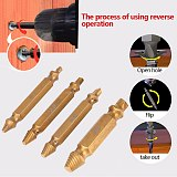 4pcs Titanium Broken Bolt Double Side Damage Screw Remover Extractor Drill Bits Easy Out Stud Reverse Screw Extractor Tool Kit