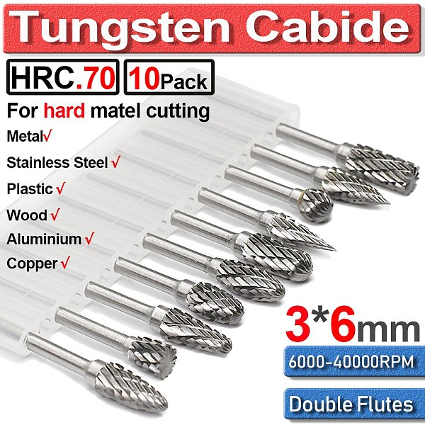 10 Pcs/set 6mm Tungsten Carbide Double Cut Rotary Point Burr 1/8  Shank Fit Rotary Tools Die Grinder Shank Rotary Burr Tools Hot