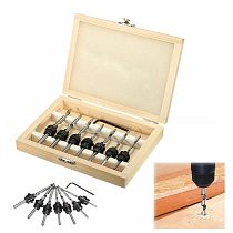 7Pcs HSS Countersink Drill Bit Set Tapered Adjustable Stop Collar Wood Hole Screw Kit for Woodworking With 1pc Hex Wrench